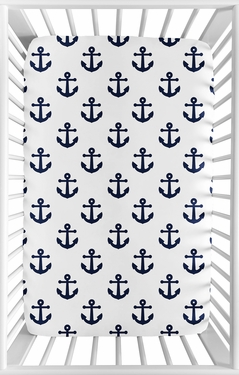 Navy Blue White Anchors Boy Girl Fitted Mini Crib Sheet Baby Nursery by Sweet Jojo Designs For Portable Crib or Pack and Play - Nautical Theme Ocean Sailboat Sea Marine Sailor Anchor Unisex Gender Neutral