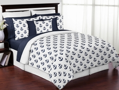 Navy Blue White Anchors Boy Girl Full / Queen Bedding Comforter Set Kids Childrens Size by Sweet Jojo Designs - 3 pieces - Nautical Theme Ocean Sailboat Sea Marine Sailor Anchor Unisex Gender Neutral