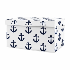 Navy Blue White Anchors Boy Girl Small Fabric Toy Bin Storage Box Chest For Baby Nursery or Kids Room by Sweet Jojo Designs - Nautical Theme Ocean Sailboat Sea Marine Sailor Anchor Unisex Gender Neutral