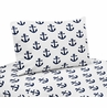 Navy Blue White Anchors Queen Sheet Set by Sweet Jojo Designs - 4 piece set - Nautical Theme Ocean Sailboat Sea Marine Sailor Anchor Unisex Gender Neutral