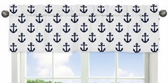 Navy Blue White Anchors Window Treatment Valance by Sweet Jojo Designs - Nautical Theme Ocean Sailboat Sea Marine Sailor Anchor Unisex Gender Neutral