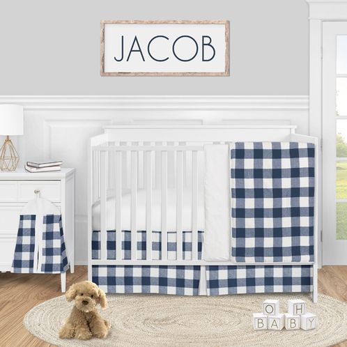 Navy Buffalo Plaid Check Baby Boy Nursery Crib Bedding Set by Sweet Jojo Designs - 4 pieces - Blue and White Woodland Rustic Country Farmhouse Lumberjack - Click to enlarge