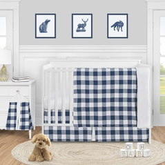 Navy Buffalo Plaid Check Baby Boy Nursery Crib Bedding Set by Sweet Jojo Designs - 4 pieces - Blue and White Woodland Rustic Country Farmhouse Lumberjack