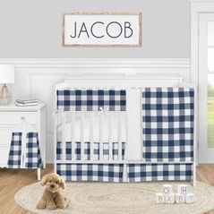 Navy Buffalo Plaid Check Baby Boy Nursery Crib Bedding Set by Sweet Jojo Designs - 5 pieces - Blue and White Woodland Rustic Country Farmhouse Lumberjack