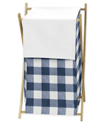 Navy Buffalo Plaid Check Baby Kid Clothes Laundry Hamper by Sweet Jojo Designs - Blue and White Woodland Rustic Country Farmhouse Lumberjack