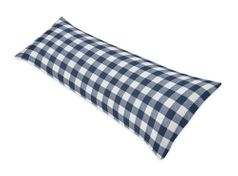 Navy Buffalo Plaid Check Body Pillow Case Cover by Sweet Jojo Designs (Pillow Not Included) - Blue and White Woodland Rustic Country Farmhouse Lumberjack