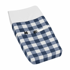 Navy Buffalo Plaid Check Boy Baby Nursery Changing Pad Cover by Sweet Jojo Designs - Blue and White Woodland Rustic Country Farmhouse Lumberjack