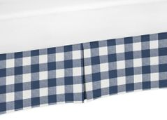 Navy Buffalo Plaid Check Boy Baby Nursery Crib Bed Skirt Dust Ruffle by Sweet Jojo Designs - Blue and White Woodland Rustic Country Farmhouse Lumberjack