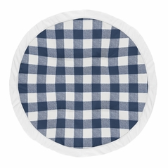 Navy Buffalo Plaid Check Boy Baby Playmat Tummy Time Infant Play Mat by Sweet Jojo Designs - Blue and White Woodland Rustic Country Farmhouse Lumberjack