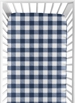 Navy Buffalo Plaid Check Boy Fitted Crib Sheet Baby or Toddler Bed Nursery by Sweet Jojo Designs - Blue and White Woodland Rustic Country Farmhouse Lumberjack