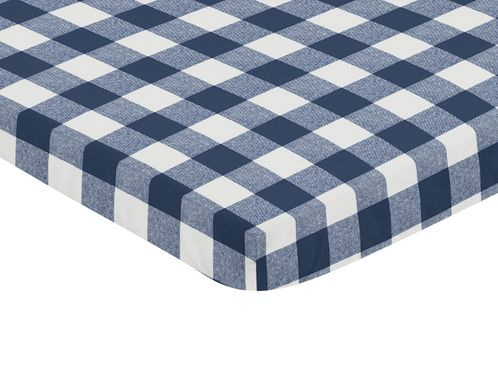 Navy Buffalo Plaid Check Boy Fitted Mini Crib Sheet Baby Nursery by Sweet Jojo Designs For Portable Crib or Pack and Play - Blue and White Woodland Rustic Country Farmhouse Lumberjack - Click to enlarge