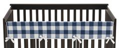 Navy Buffalo Plaid Check Boy Long Front Crib Rail Guard Baby Teething Cover Protector Wrap by Sweet Jojo Designs - Blue and White Woodland Rustic Country Farmhouse Lumberjack