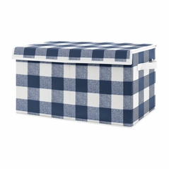Navy Buffalo Plaid Check Boy Small Fabric Toy Bin Storage Box Chest For Baby Nursery or Kids Room by Sweet Jojo Designs - Blue and White Woodland Rustic Country Farmhouse Lumberjack