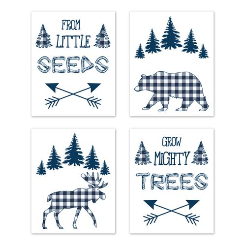 Navy Buffalo Plaid Check Wall Art Prints Room Decor for Baby, Nursery, and Kids by Sweet Jojo Designs - Set of 4 - Blue and White Woodland Rustic Country Farmhouse Lumberjack Deer Bear - Click to enlarge