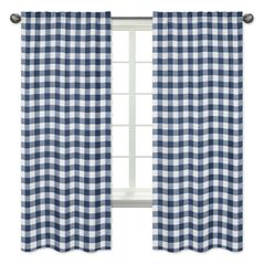 Navy Buffalo Plaid Check Window Treatment Panels Curtains by Sweet Jojo Designs - Set of 2 - Blue and White Woodland Rustic Country Farmhouse Lumberjack