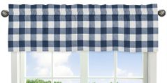Navy Buffalo Plaid Check Window Treatment Valance by Sweet Jojo Designs - Blue and White Woodland Rustic Country Farmhouse Lumberjack