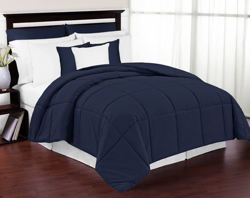Navy Down-Alternative Comforter <br> Available in Twin Size - Click to enlarge