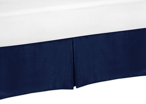 Navy King Bed Skirt for Modern Blue and Orange Stripe Bedding Sets by Sweet Jojo Designs - Click to enlarge