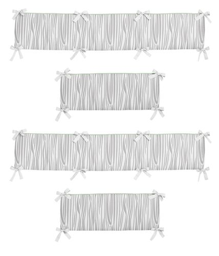 Navy, Mint and Grey Woodsy Collection Baby Crib Bumper Pad by Sweet Jojo Designs - Click to enlarge