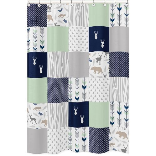 Navy, Mint and Grey Woodsy Kids Bathroom Fabric Bath Shower Curtain by Sweet Jojo Designs - Click to enlarge