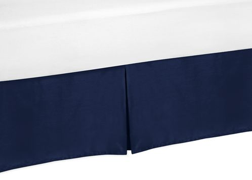 Navy Twin Bed Skirt for Navy and Grey Plaid Boys Teens Bedding Sets - Click to enlarge