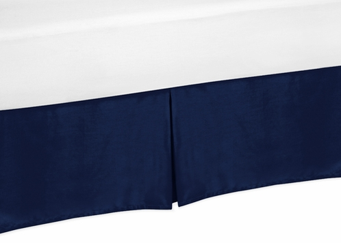 Navy Twin Bed Skirt for Navy Blue and Gray Stripe Bedding Sets - Click to enlarge