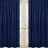 Navy Window Treatment Panels for Navy Blue and Orange Stripe Collection - Set of 2