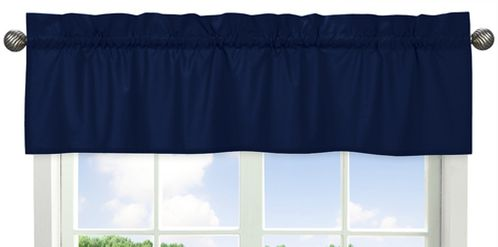 Navy�Window Valance for Navy Blue and Gray Stripe Collection by Sweet Jojo Designs - Click to enlarge