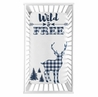 Navy Woodland Deer Boy Fitted Crib Sheet Baby or Toddler Bed Nursery Photo Op by Sweet Jojo Designs - Blue and White Buffalo Plaid Check Rustic Country Farmhouse Lumberjack