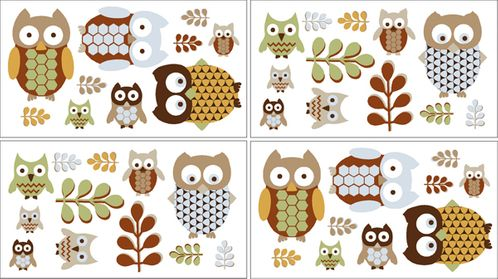 Night Owl Baby and Kids Wall Decal Stickers - Set of 4 Sheets - Click to enlarge