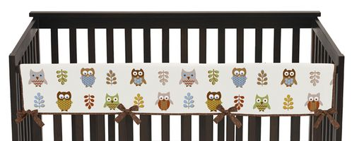 Night Owl Baby Crib Long Rail Guard Cover by Sweet Jojo Designs - Click to enlarge