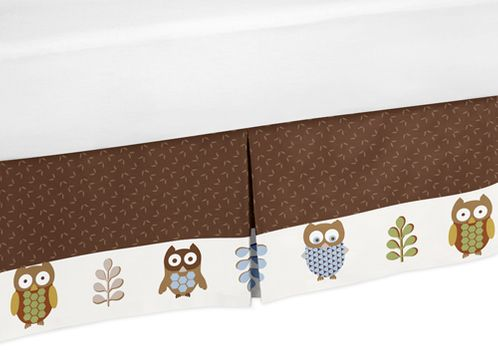 Night Owl Bed Skirt for Toddler Bedding Sets by Sweet Jojo Designs - Click to enlarge