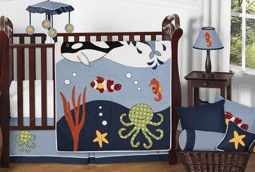 Ocean Blue Sea Life Baby Bedding - 11pc Crib Set by Sweet Jojo Designs - Click to enlarge