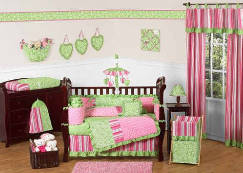 Olivia Girls Boutique Pink and Green Baby Bedding - 9pc Crib Set by Sweet Jojo Designs - Click to enlarge