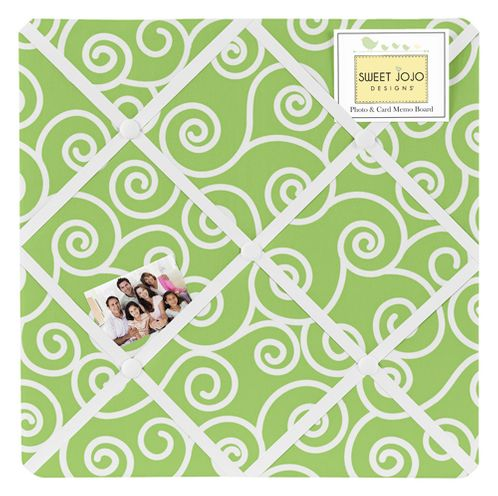 Olivia Lime and White Swirl Print Fabric Memory/Memo Photo Bulletin Board by Sweet Jojo Designs - Click to enlarge