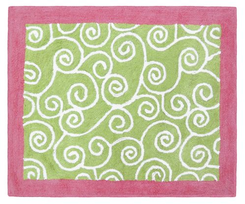 Olivia Pink and Green Accent Floor Rug - Click to enlarge