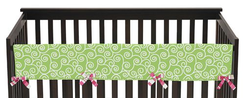 Olivia Pink and Green Baby Crib Long Rail Guard Cover by Sweet Jojo Designs - Click to enlarge