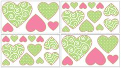 Olivia Pink and Green Peel and Stick Wall Decal Stickers Art Nursery Decor by Sweet Jojo Designs - Set of 4 Sheets