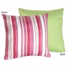 Olivia Pink and Green Stripes/Dots Decorative Accent Throw Pillow