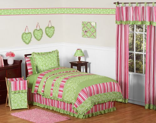 Olivia Pink and Green Girls Children & Teen Bedding - 3pc Full / Queen Set by Sweet Jojo Designs - Click to enlarge