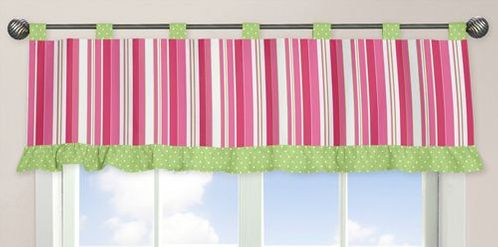 Olivia Pink and Green Window Valance by Sweet Jojo Designs - Click to enlarge