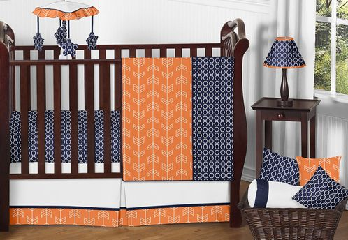 Orange and Navy Arrow Baby Bedding - 11pc Crib Set by Sweet Jojo Designs - Click to enlarge