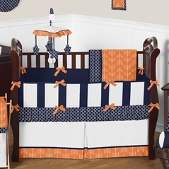 Orange and Navy Arrow Baby Bedding - 9pc Crib Set by Sweet Jojo Designs