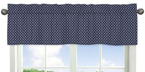 Orange and Navy Arrow�Collection Hexagon Print Window Valance - Click to enlarge