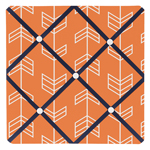Orange and Navy Arrow Fabric Memory/Memo Photo Bulletin Board