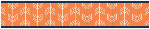 Orange and Navy Arrow Kids and Baby Modern Wall Paper Border by Sweet Jojo Designs - Click to enlarge