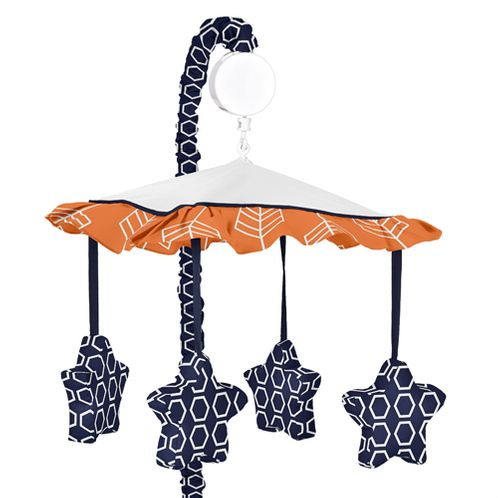 Orange and Navy Arrow Musical Baby Crib Mobile by Sweet Jojo Designs - Click to enlarge