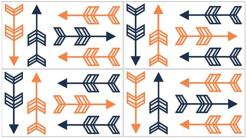 Orange and Navy Arrow Peel and Stick Wall Decal Stickers Art Nursery Decor by Sweet Jojo Designs - Set of 4 Sheets - Click to enlarge