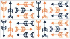 Orange and Navy Arrow Peel and Stick Wall Decal Stickers Art Nursery Decor by Sweet Jojo Designs - Set of 4 Sheets