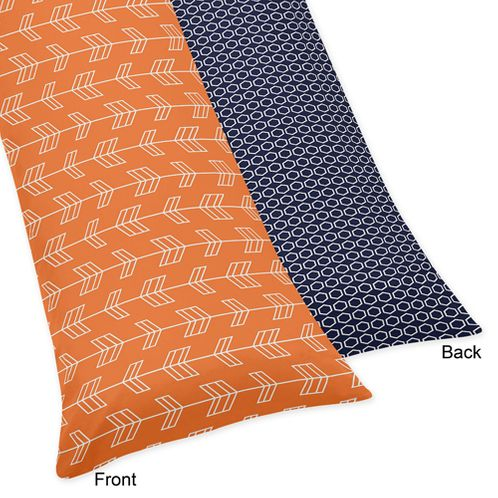 Orange and Navy Arrow Print Full Length Double Zippered Body Pillow Case Cover - Click to enlarge